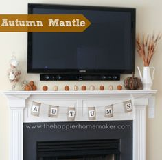 Love this decorations for under the   tv on the mantel