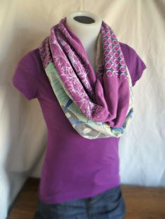 Patchwork infinity scarf from recycled materials - Purple and Gray. $28.00, via Etsy.