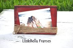 Distressed Wood Block frame wrapped in twine...perfect for that Rustic Wedding or Bridesmaids gift. $12.00, via Etsy.
