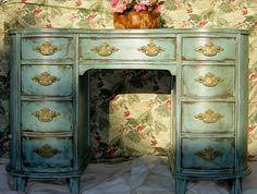 BLUE FRENCH DESK - Or Vanity With 9 Drawers Hand Painted and Distressed Blue Turquoise Teal Green Gold Provincial Curved Vanity. $375.00, via Etsy.
