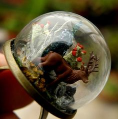 Deer In Crytasl Forest Glass Globe Ring by ThePurpleArtichoke7