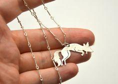 Silver Leaping Fox Necklace / Custom by BlackRabbitStudio on Etsy, $75.00