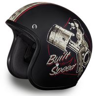 Vintage look with modern flair! Our Built For Speed open face motorcycle helmet is quite an artful design. FEATURES: DOT Approved for safety Smallest truly DOT approved shell helmet made Mo. Cruiser Motorcycle Helmet, Open Face Motorcycle Helmets, Motorcycle Lights, Open Face Helmets, Motorcycle Boots, Half Helmets, Speed Form, Helmet Brands, Motorcycle Helmets