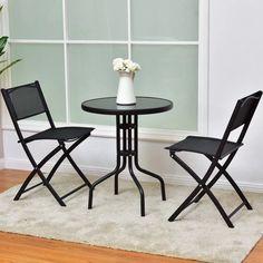 3Pcs Bistro Set Garden Table Folding Chair Outdoor Patio Furniture