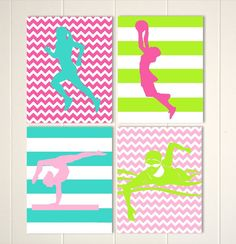 Girls wall art, girls room decor, netball, runner, gymnastics, swimmer, girls sports art, choose your sports and colors by PicabooArtStudio