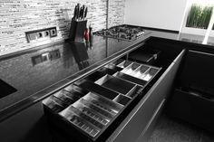 Utensils under working deck area Utensils, Stove, Kitchen Appliances, Furniture, Monochrome, Kitchen Ideas, Deck, Lounges, Diy Kitchen Appliances
