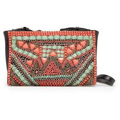 MANGO Tribal style bag (5.520 RUB) ❤ liked on Polyvore featuring bags, handbags, clutches, black, bolsa, leather handbag purse, handbags purses, leather purse, tribal purse and long strap purse