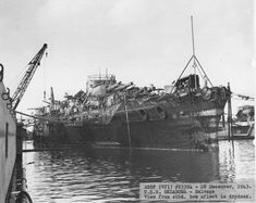 USS Oklahoma in drydock preparing for hull repair ~ BFD Uss Oklahoma, Remember Pearl Harbor, Us Battleships, Us Navy Ships, Pearl Harbor Attack, Cabin Cruiser, Uss Enterprise, United States Navy, Submarines