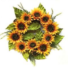 Autumn Elegance Yellow Sunflower Summer Wreath for Front Door Wreaths Indoor Use for sale online Deco Mesh Wreaths, Fall Wreaths, Mesh Garland, Christmas Wreaths, Fabric Wreath, Burlap Wreath, Yellow Sunflower, Orange Yellow, Outdoor Wreaths