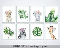 Tropical Jungle Nursery Decor Safari Animals Zebra Elephant Giraffe Lion Printable Tropical Leaves Floral Animals Watercolor Girl Wall Decor - Healty fitness home cleaning Safari Nursery, Animal Nursery, Nursery Prints, Nursery Art, Girl Nursery, Nursery Decor, Room Decor, Jungle Book Nursery, Zebra Nursery