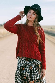 """The Highway 61 Pullover in Interweave Knits Fall 2017 is a versatile """"go-to"""" sweater that's ready for the open road. It has the classic look of an Aran pullover but features modern touches, and the side vents and tapered body make for a roomy fit. The nontraditional cable panel on the front is simple to work yet adds an intricate aspect to this timeless sweater. Check it out!"""