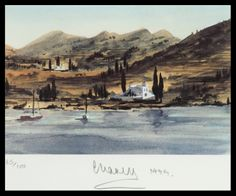 Hrh Prince Charles, The Prince Of Wales Landscape Print - Greek Island Fishing Boats - Signed Lithograph Royal Art Greece Hills Shore 1999 Academic Landscape Prints, Contemporary Landscape, Royal Family History, Royal Art, Impressionist Landscape, Philadelphia Museum Of Art, Selling Art Online, Watercolor Trees, Prince Of Wales