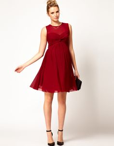 Christmas party dress!!! ASOS Maternity | ASOS Maternity Dress With Mesh And Front Knot at ASOS