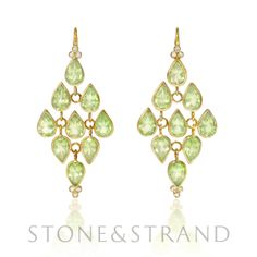 Peridot Drop Earrings by Ray Griffiths, available exclusively at www.stoneandstrand.com