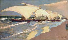 Joaquin Sorolla Y Bastida (1863-1923), Barche. Valencia , olio su tela