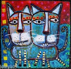 """""""Two Heads Are Better Than One"""" Outsider Art Cat Painting by Tracey Ann Finley"""
