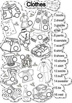 Clothes - ESL worksheet by gabitza Kids English, English Lessons, English Words, Learn English, English Language, Vocabulary Worksheets, School Worksheets, English Vocabulary, English Worksheets For Kids