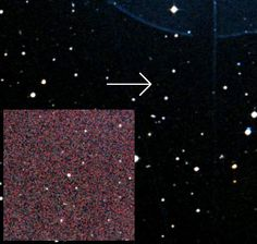 "Is this the smallest, faintest star? In visible light (arrowed) it's barely visible, but in infrared (inset) it's more easily seen. (Photo: CDA Portal / 2MASS/UMass/IPAC-Caltech/NASA/NSF) Mona Evans, ""The Smallest Star in the Universe"" http://www.bellaonline.com/articles/art301455.asp"
