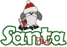 SAMPLE SALE Santa Paws Embroidered & by SewStitchingPerfect