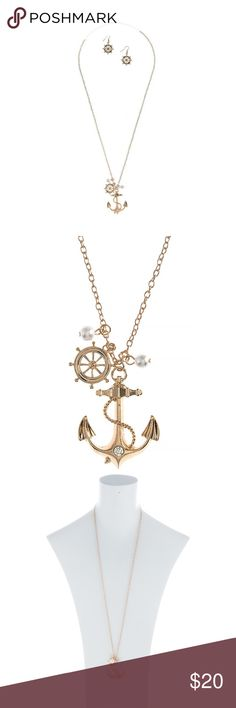 """Faux Pearl Anchor Charm Pendant Necklace & Earring Nautical themed Faux Pearl Accent Anchor Charm Pendant Necklace Set with """"Ship Wheel"""" earrings included. Just right for the sea lubber in you. Necklace Approx. 30"""" in length. Lobster claw clasp. Lead/Nickel compliant. Earrings: 1.5"""" drop. Goldtone color. Necklace and earrings come as a set. Allegro Jewelry Necklaces"""