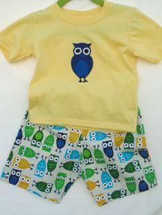 Boys Set  size 18Mo  Owls by LoopsyBaby on Etsy, $18.00 #boyset #owls #owlpants