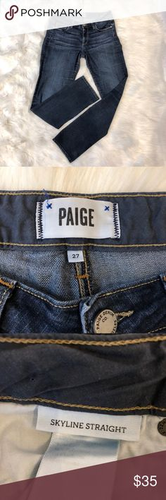 2746f527485d52 PAIGE Skyline Straight Jeans EUC. Paige Skyline Straight Jeans. In pics,  inside leg