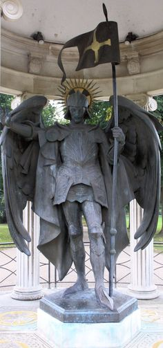 Bronze Statue of St Michael by Allan G Wyon enclosed in the War Memorial in The Quarry, Shrewsbury.  Originally built in 1922-23 in memory of the men & women of Shrewsbury who lost their lives in the Great War. More inscriptions were later added to remember those lives lost in the 2nd World War.