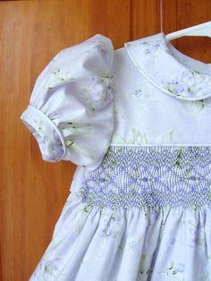 Lavender shabby roses hand smocked dress