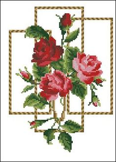 free cross stitch patterns in pdf format with res roses