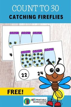 Kids will practice counting up to to 30 fireflies in this free insect-themed activity that's perfect for summer. Just print and cut out into cards.  #freeprintableworksheetsforkids #summer #spring #insect #bug #firefly #counting #number #math #kindergarten #preschool Insect Activities, Counting Activities, Kindergarten Activities, Free Printable Worksheets, Worksheets For Kids, Fun Games For Kids, Activities For Kids, Easy Arts And Crafts, Homeschool Math