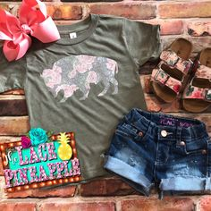 Custom Floral Buffalo Tee- available in infant, toddler and youth. Also shown handmade Distress shorts and corresponding sandals. #thelacepineapple #buffalo #bohostyle #floral