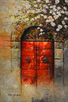 doors italy architecture Italian Red Door From Tuscany With White Rosebush by Kanayo Ede Italian Paintings, Italian Art, Italian Doors, Painted Doors, Window Design, Blue Aesthetic, Landscape Paintings, Fine Art America, Watercolor Paintings