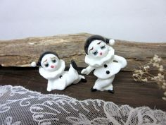 Harlequin Pierrot Clown  Bone China Small Figurine  by Mydaisy2000