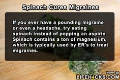 Spinach Cures Migraines - #Headache, #Migraines, #Spinach