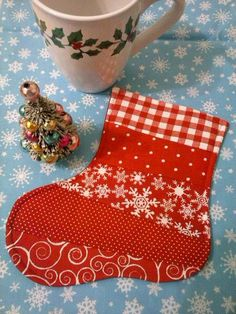 Stocking Mug Rug Christmas Mug Rugs Christmas by SewSweetSparrow