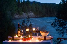 This is truly My Montana.....sitting by the raging river, and having some Washington wines!