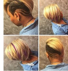 12 Creative Undercut Designs That You Just Have To see [Gallery] - Black Hair Information Shaved Side Hairstyles, Short Black Hairstyles, Short Hair Cuts, Girl Hairstyles, Short Hair Styles, Shaved Side Haircut, Curly Mohawk Hairstyles, Casual Hairstyles, Pixie Haircuts