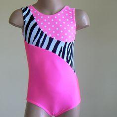 Gymnastics Dance Leotard  Hot Pink/Zebra Print/Polka by SENDesigne, $29.00