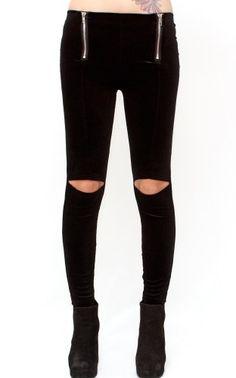 Velvet Open Knee Leggings • Shoplibrett