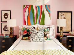 eclectic bedroom--pale pink walls...interesting.