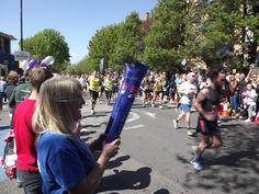 Victoria cheering on participants in the London Marathon #LondonMarathon #BlindVeteransUK Image credited to Ian Dunn Design