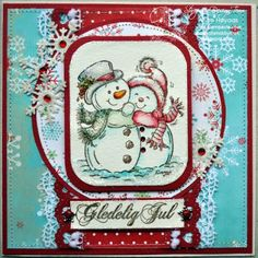 Annes lille hobbykrok: Stampavie, Christmas card, snowmen, Distress Ink