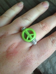 Green Peace Sign Ring Silver Wire Wrapped Hippie by SoSheDidShop