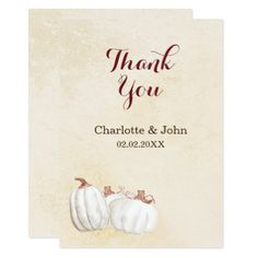 white pumpkins fall harvest wedding thank you card - invitations personalize custom special event invitation idea style party card cards