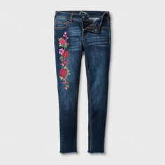 Plus Size Girls' Floral Embroidered Skinny Jeans - Art Class Dark Denim Wash 16 Plus, Blue