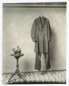 The suit and hat worn by Lincoln on the night of his assassination. Photograph made by the Smithsonian, circa 1890.