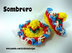 Cinco de Mayo Sombrero Hat Charm by Izzalicious Designs. Rainbow Loom Tutorials, Rainbow Loom Creations, Rainbow Loom Bands, Rainbow Loom Charms, Rainbow Loom Bracelets, Loom Band Charms, Rubber Band Charms, Rubber Bands, Loom Love