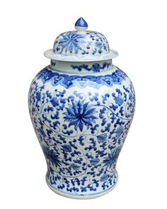 Blue & White Twisted Lotus Temple Jar – The Pink Pagoda