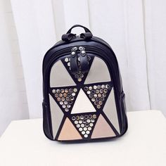 753bcde52263 Preppy Style Women Backpack Geometric Patchwork High Quality PU Leather  Backpacks for Teenagers Girls Female School