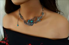 Sterling Silver 999,925 Necklace , filigree, turquoise,Handmade by Ataliaart on Etsy